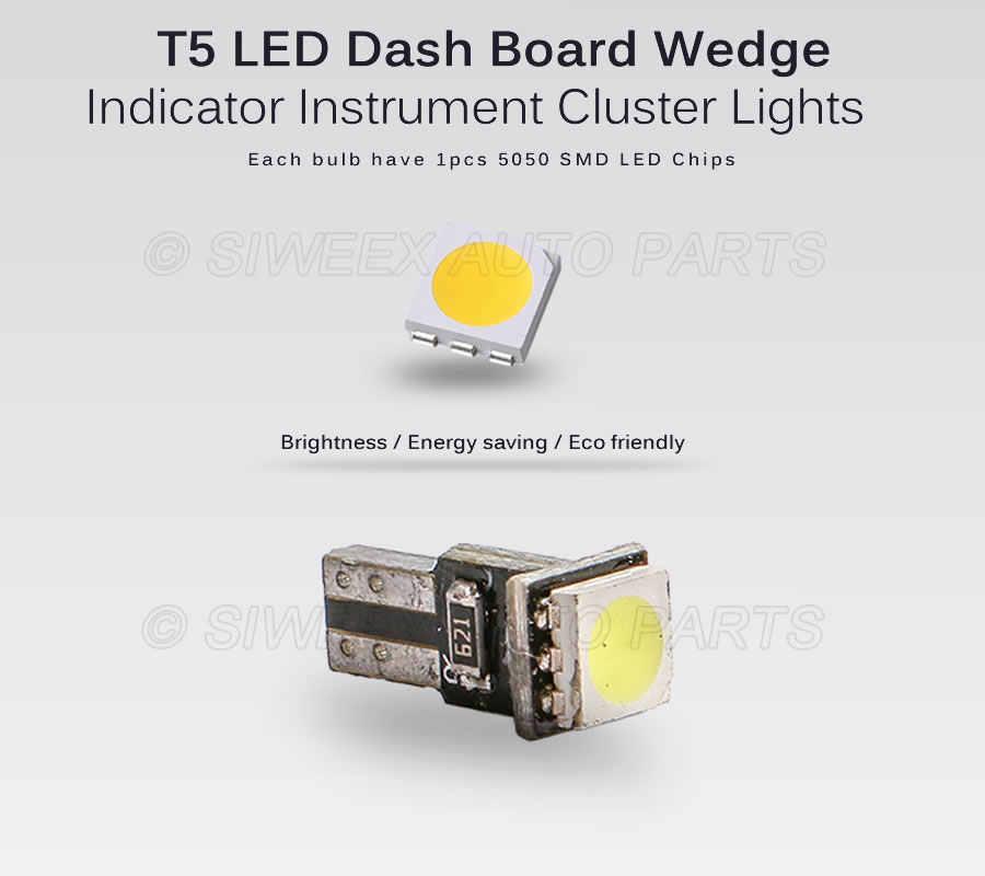 10Xr T5 5050 SMD Dashboard White 1-LED bulbs light lamp 37 286 18 27 12v L4Q1