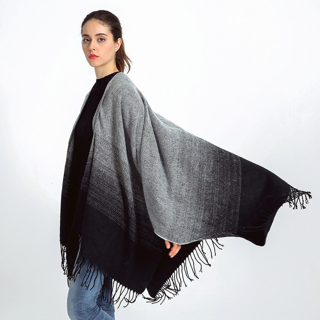 Vintage Tassel Gradient Shawl Ponchos and Capes Fall 2016 Cashmere Poncho Infinity Blanket Scarf Cloak Scarves and Stole