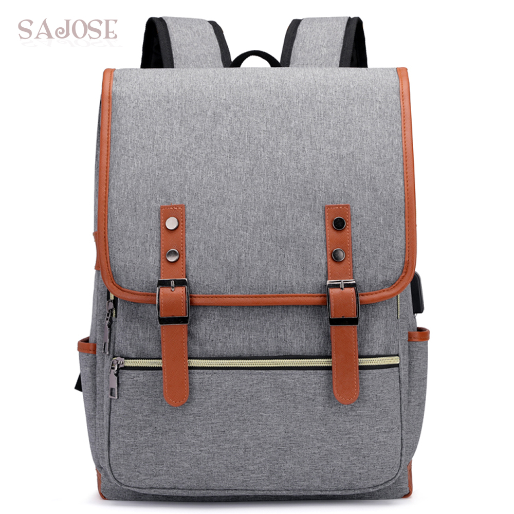 Men Laptop Backpack For 15.6 inch USB Charging Backpacks Computer Anti-theft Bags Male Gray Daypack Women Mochila DropShipping metaldesign md 736 02 11
