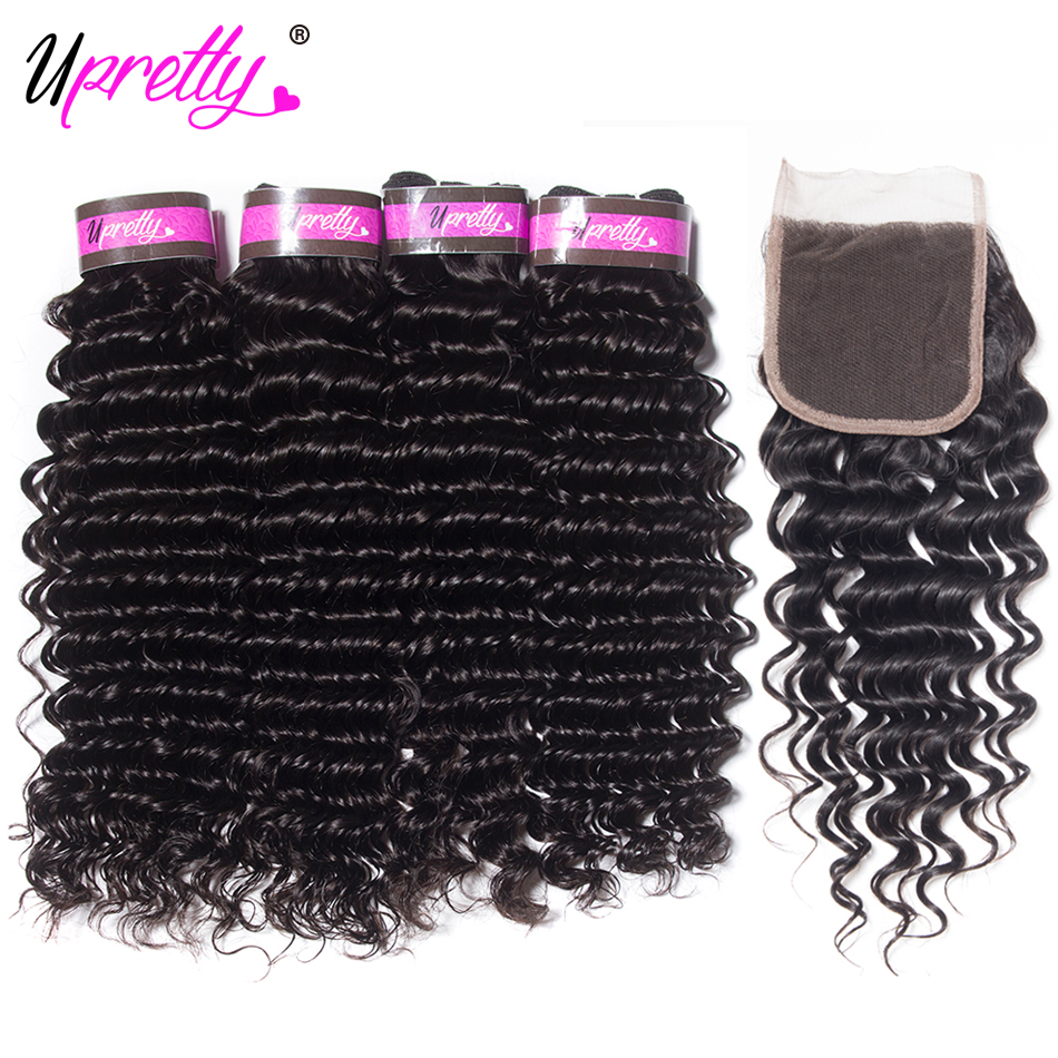 Upretty Hair Peruvian Deep Wave with Closure Peruvian Hair Deep Curly 4 Bundles with 4*4 ...