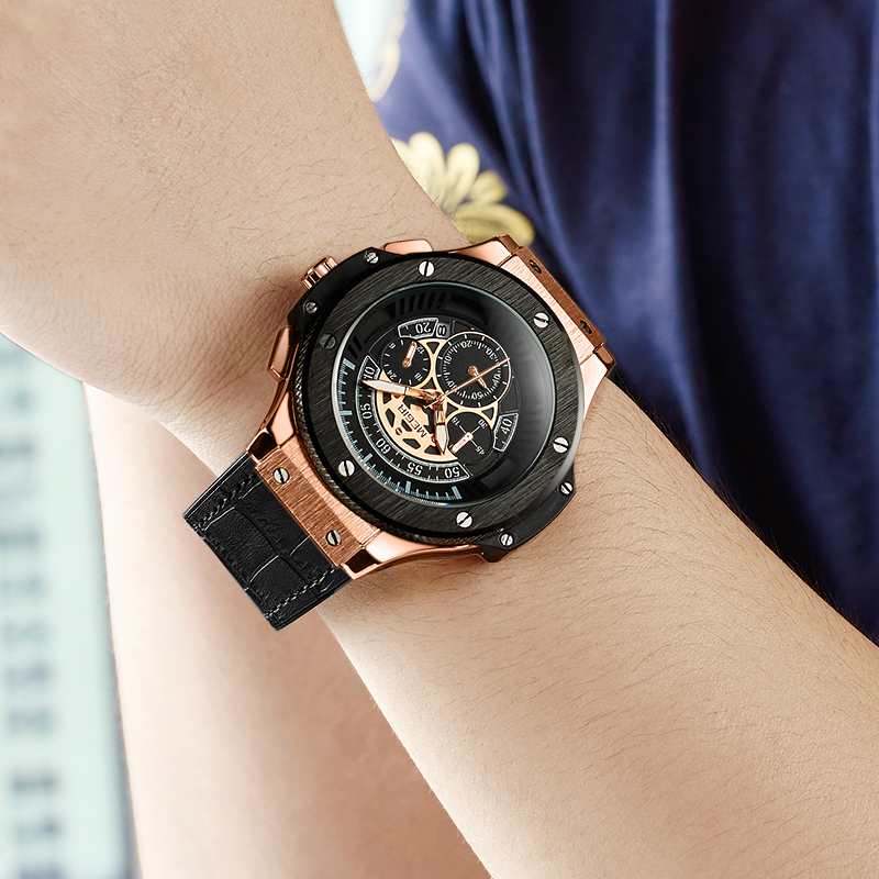 MEGIR Hommes de Sport Montres De Luxe De Marque Montres Mode Militaire Casual Hommes En Cuir Quartz Montre Horloge Relogio Masculino