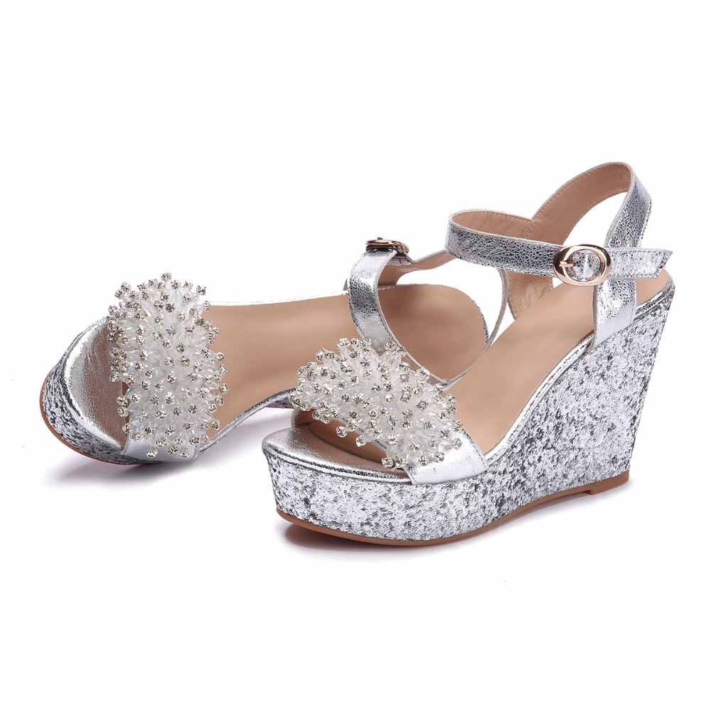 Arden Furtado 2018 summer high heels platform wedges crystal rhinestone  flowers silver fashion buckle sandals shoes for woman -in High Heels from  Shoes on ... 9aa56296ac62