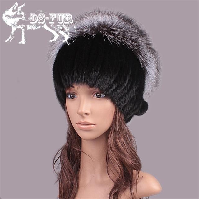 Winter natural mink fur hat for women genuine fur vertical stripe caps Russian beanies 2016 fashion thick fur cap women's hats