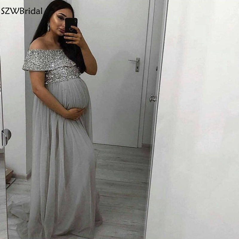 New Arrival Chiffon Pregnant woman   evening     dress   abendkleider 2019 Silver Beading   Evening   gowns long   dress   Party robe soiree