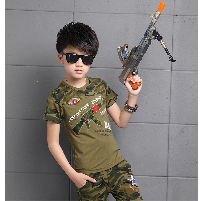 Children's suit 2017 summer new fashion 4-13 years old boys fashion / camouflage clothing / children's sportswear hot sale fashion handpainted palm sea sailing pattern hot summer jazz hat for boys