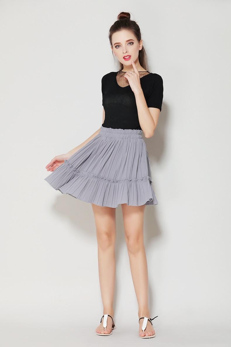 d193f766ccb Anasunmoon 2017 Shorts Skirts Women s Solid Mini Pleated Skirt ...