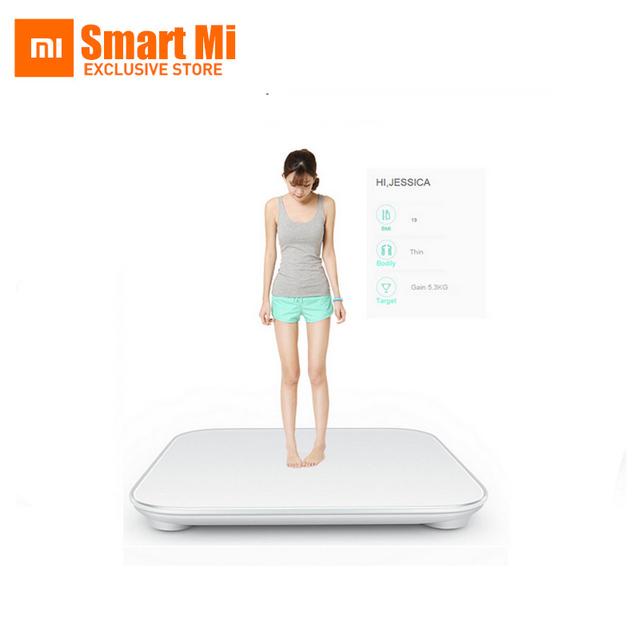 Frete grátis original xiaomi mi peso balança digital balanças de uso doméstico inteligente original para android 4.4 ios7.0 branco acima