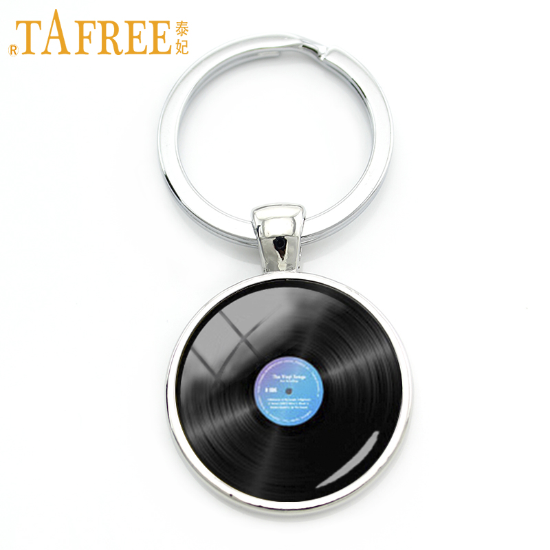 TAFREE Charm Music Jewelry Retro Gramophone Record Keychain Vintage Vinyl Record Picture Musician's Accessories Gift KC150