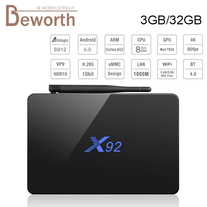 Original X92 Amlogic S912 Octa-Core Android 6.0 TV BOX 3GB 32GB 2.4/5.8G Dual Wifi 4K H.265 BT4.0 Smart Media Player Set-top Box