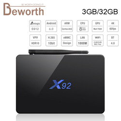 Original X92 Amlogic S912 Octa-Core Android 7.1 TV BOX 3GB 32GB 2.4/5.8G Dual Wifi 4K H.265 BT4.0 Smart Media Player Set-top Box