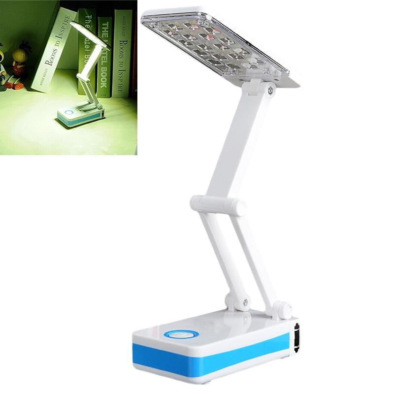 18 LEDs Folding Rechargable Reading Desk Table Bedside Lamp Light in White and Blue ALI88
