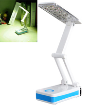 18-LEDs Folding Rechargable Reading Desk Table Bedside Lamp Light in White and Blue   ALI88