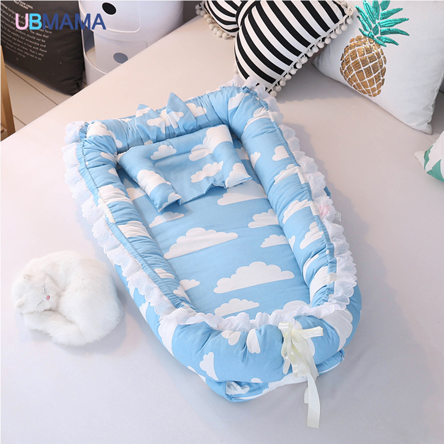 Travel Simple Lovely Foldable Pillow Portable Stripde Solid Baby Sleeper Cotton Newborn Lace High Quality Crib Baby Soft Bed
