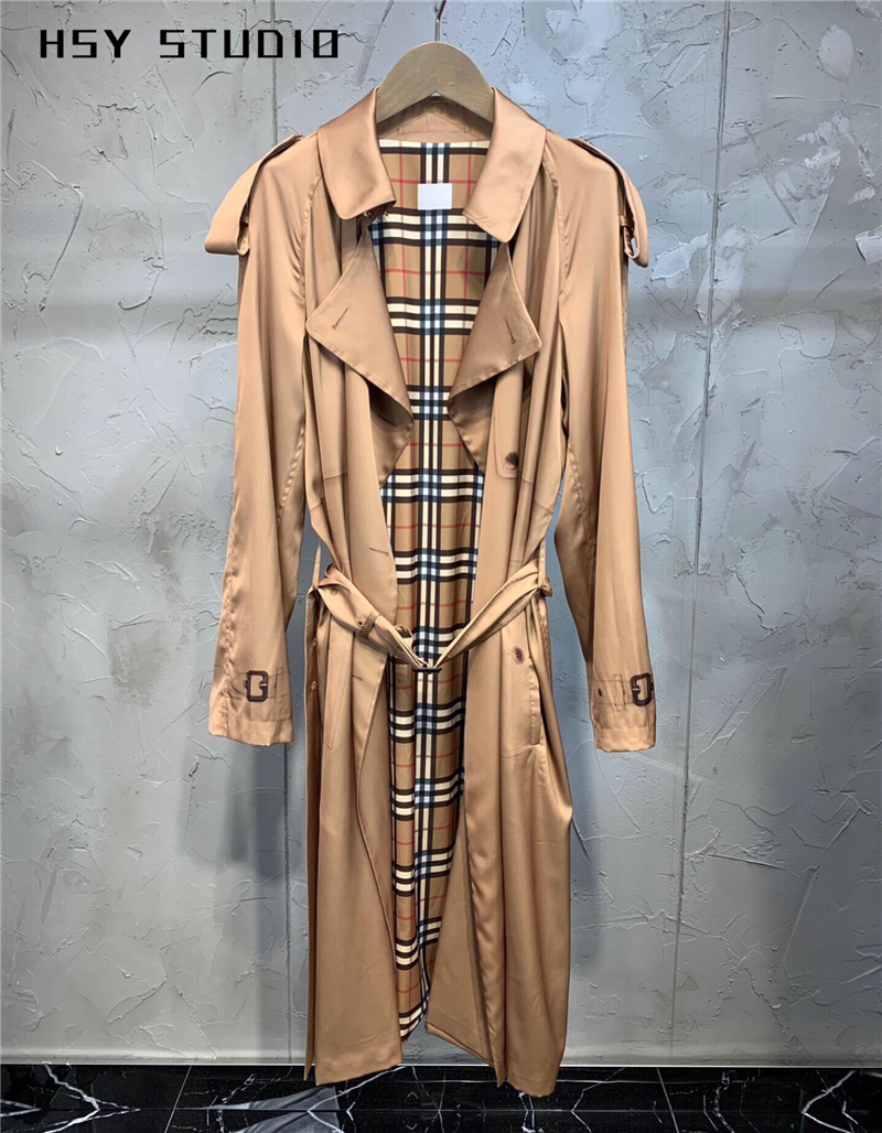 【HSY Studio】 2019 autumn new classic silk oversized   trench   coat instagram trendy lapel shift tunic women double-breasted coat