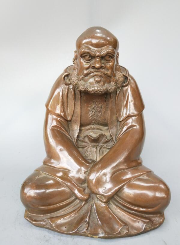 Chinese pure brass Bodhidharma Buddha statue