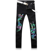 Black 3D Luminous Phoenix Printed Men Jeans Unique Man Printing Jeans Cotton Large Size Skinny Jeans For Men Denim Pants