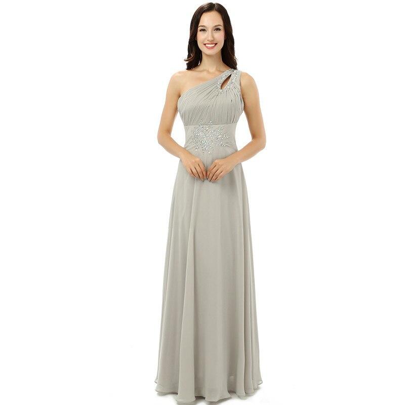 Vraies images argent robe De bal De haute qualité une épaule en mousseline De cristal longue formelle robe De soirée grande taille Vestidos De 15 Anos