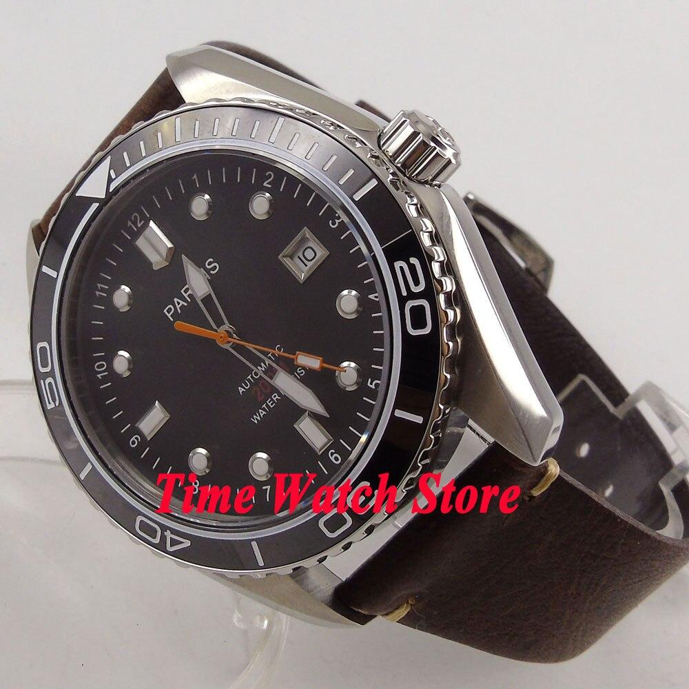 Parnis 45mm black dial Sapphire Glass Ceramic Bezel 21 jewels MIYOTA Automatic movement Men's watch 671 цена и фото