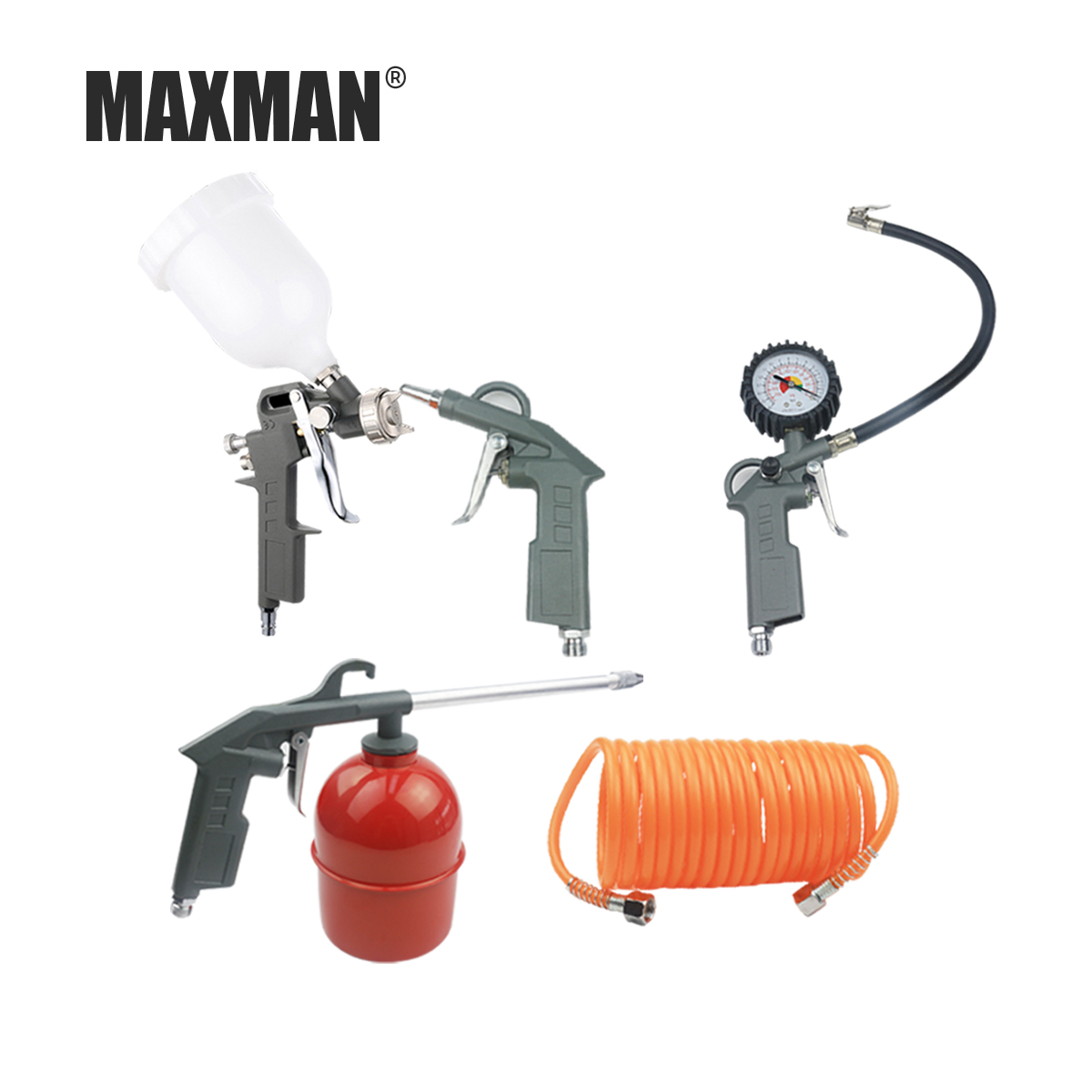 MAXMAN 400ML 5pcs Professional Pneumatic Spray Gun Airbrush Sprayer Alloy Painting Atomizer Tools with Hopper for Painting Car стоимость