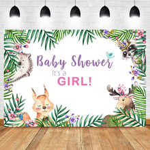 Neoback Woodland Girl Baby Shower Backdrop Jungle Animals Childrens Birthday Party Banner Candy Table Decorations Background