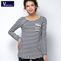 2016 camiseta femme Primavera de manga larga camiseta de las mujeres t poleras de mujer camisa tops para mujer de moda camiseta de la raya camisetas mujer