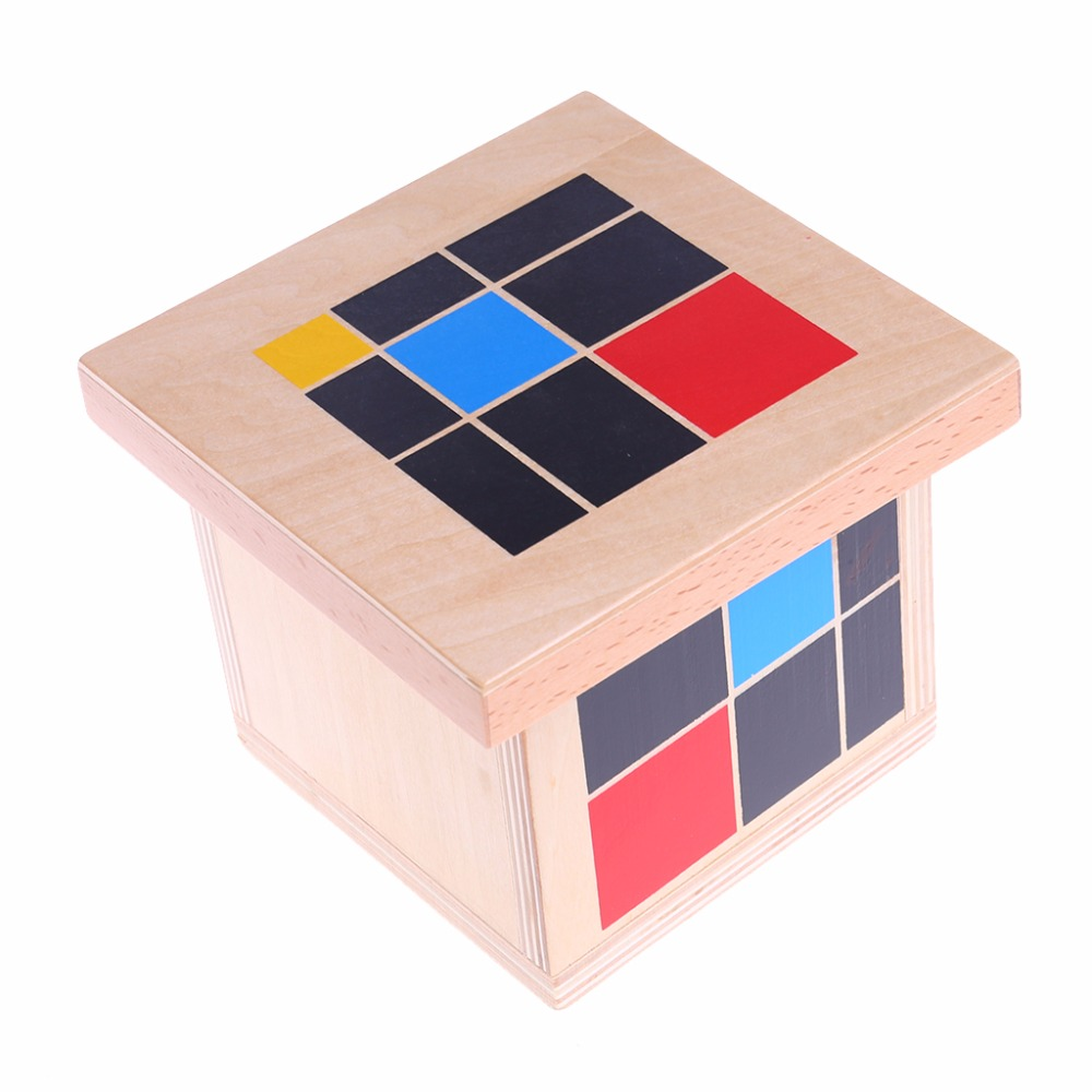 Early Learning Educational Toys Montessori Wooden Trinomial Cube for Toddlers Preschool Training Learning Toys Great Gift