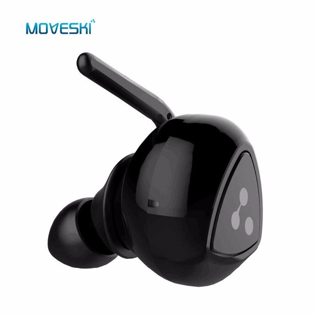 Moveski Sans Fil Bluetooth Écouteurs D900 Mini Étanche Invisible Auriculares Bruit Annulation Écouteurs Micro Casque-Noir