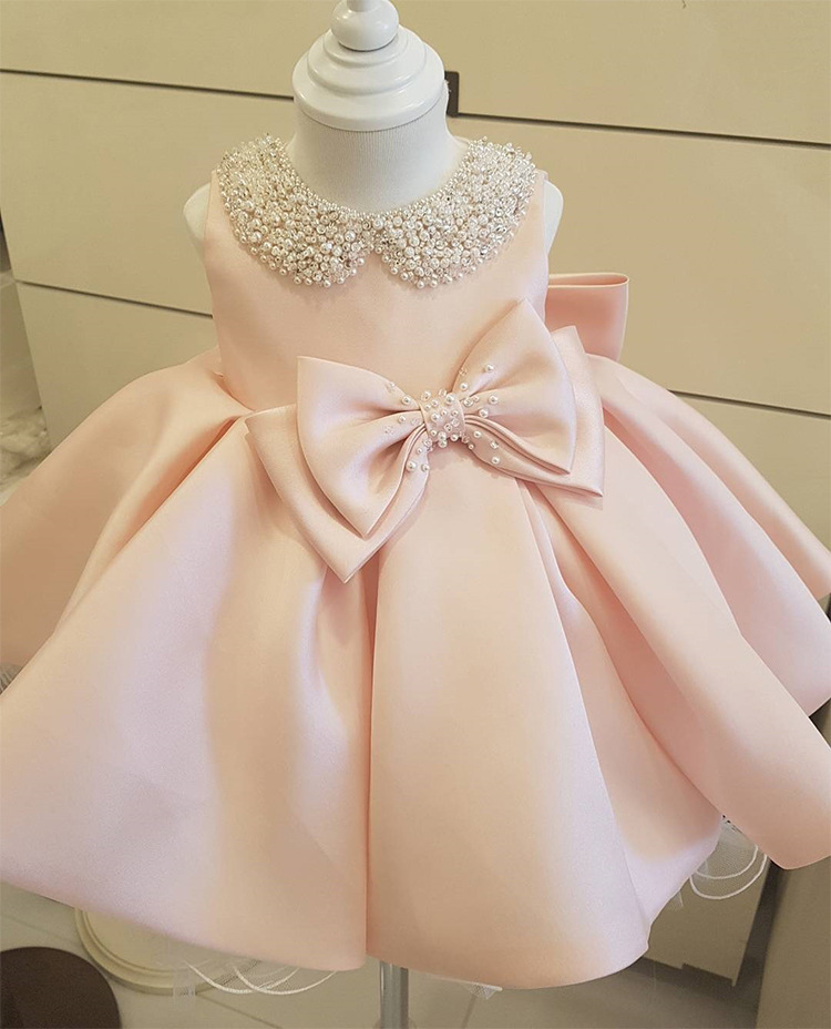 Baby Girl 1st Birthday Pearl Pink Dress Toddler Girl Party Princess Dress Girls Fluffy Tulle Clothes