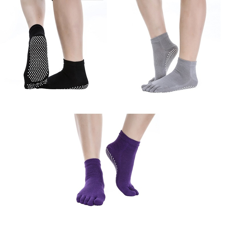 3 Pair/Lot Five Toe Yoga Socks Breathable Anti Slip Cotton Socks With Grips For Woman Indoor Gym Fitness Dancing Pilates Ballet