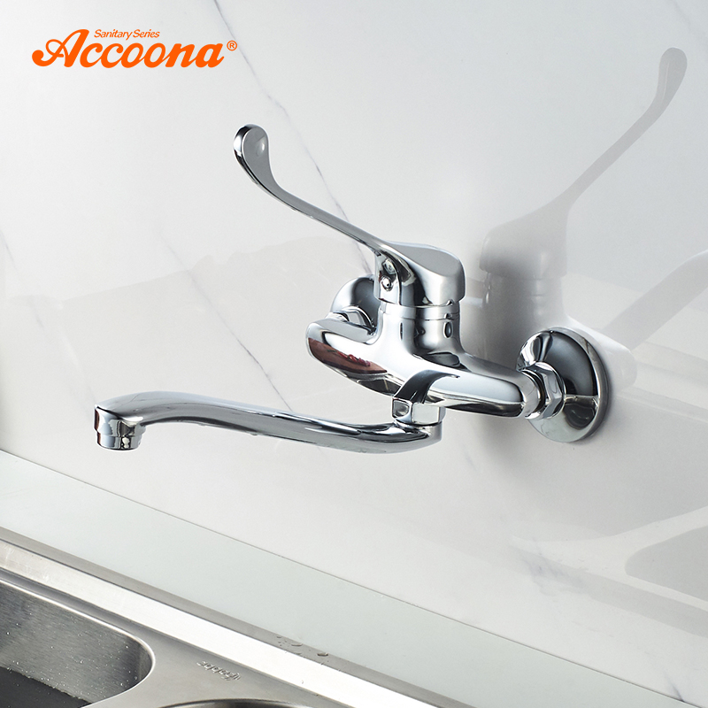 Accoona Kitchen Faucet Wall Mounted Wall Kitchen Mixers Kitchen Sink Tap 360 Degree Swivel Flexible Hose Single Holes A5941