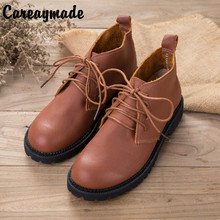 Careaymade-2019 antumn and winter new Genuine Leather Mori girl simple female single shoes,handmade fashion ankle boots,2 colors