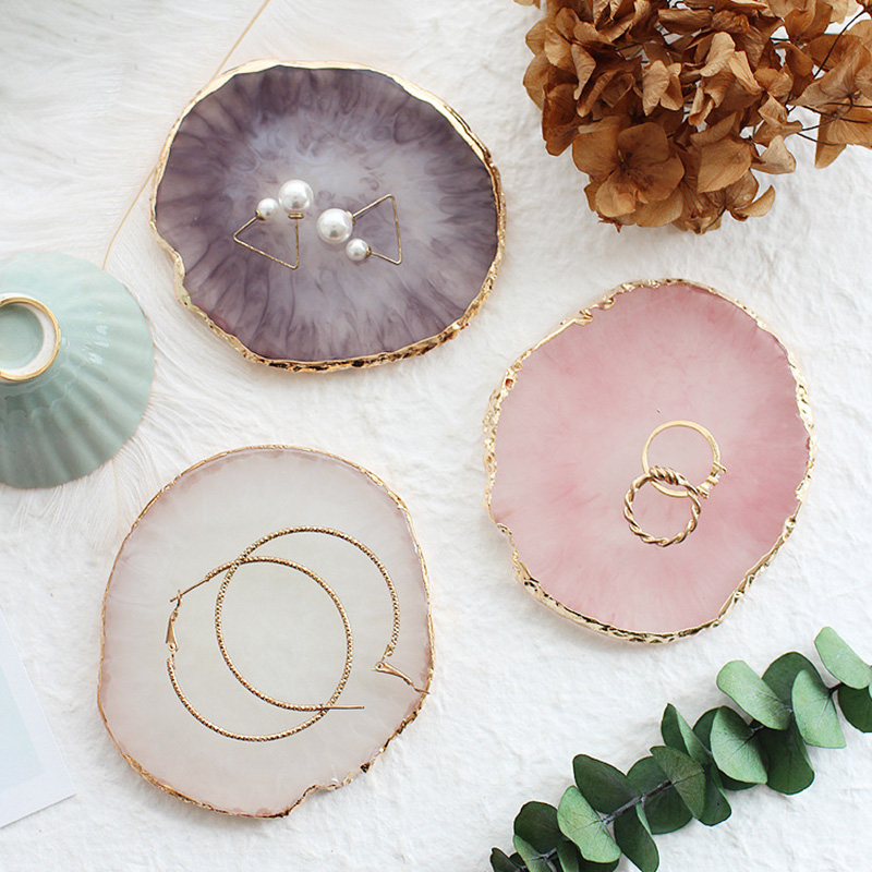 Resin Storage Painted palette Tray Jewelry Display Plate Necklace Ring Earrings Display Tray Creative Decoration Organizer