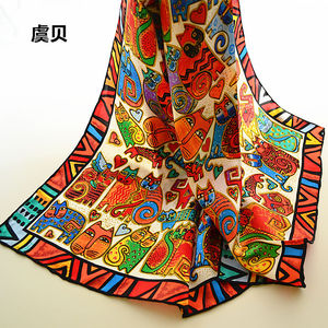 Image 2 - I gatti del fumetto di lunga sciarpa delle donne di protezione solare morbido sottile di gelso naturale di seta sciarpa stampata sciarpe dello scialle dellinvolucro regalo di natale per la Signora
