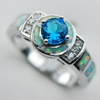 Blue Crystal Zircon White Opal 925 Sterling Silver  Ring Size 6 7 8 9 10 R1312