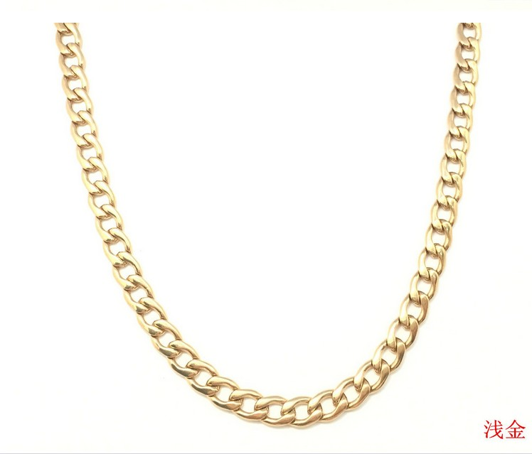 Mens Chain( 8mm 60CM 52g )Heavy Gold Plated 316L Stainless Steel Double Curb Link Rombo  ...