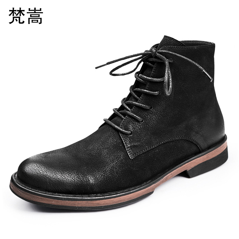 Martin Boots Mens Retro Cowhide autumn winter British retro chelsea boots men military boots male dress boots breathable casual