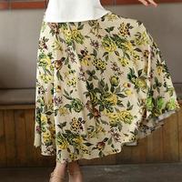 Women S Linen Skirt Loose Long Skirt Bohemian Print Flower Skirt
