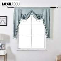 LOZUJOJU European Short Curtain Solid Color Valance Rustic Home Drops for Bedroom Windows Thread Fabric Beads Match Luxury