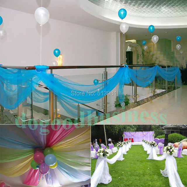 Aliexpress buy 5m135m organza fabric wedding decoration 5m135m organza fabric wedding decoration table top curtain party chair sash bow table junglespirit Image collections