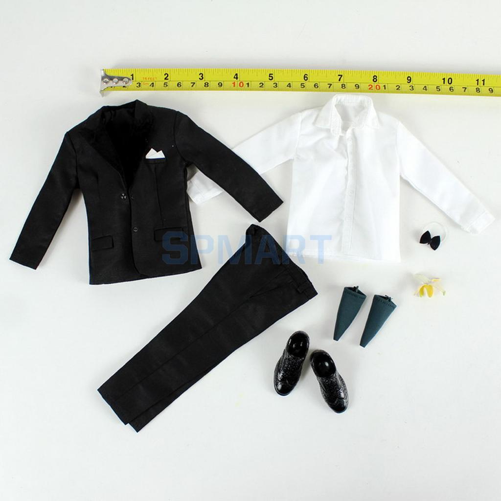 1/6 Scale Black Suit Coat Trousers Shirt Shoes Set Clothes for 12'' Male Action Figure Hot Toys Enterbay Mr.Bean Accessories