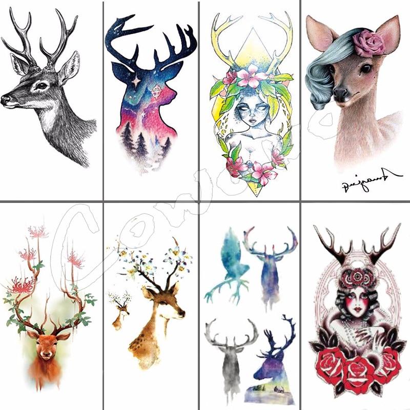 HOT SALE ! 10x6cm Fashion Small Cute Deer Waterproof Temporary Tattoo Sticker