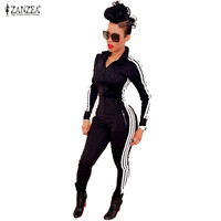 New Women Jumpsuits Rompers 2015 Fashion Ladies Long Sleeve Sport Wear Playsuits Athletic Black Zipper Bodysuit