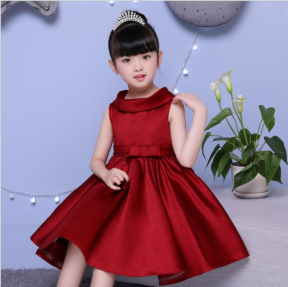 Glizt Girls Sleeveless Wedding Dress Summer Red Tulle Princess Birthday Dress Christmas Gown Girl First Communion