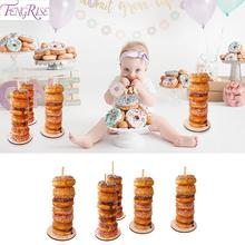 FENGRISE Donut Stands Wall bar Party Supply For Kids Birthday Decor Baby shower Decoration