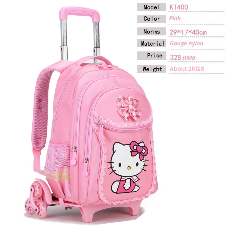 Hello Kitty Children School Bags Kids Backpacks Wheel Trolley ... 9e315a672a360