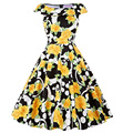 Floral Women Dresses 50s Belle Poque Sleeveless Crew Neck Cotton Tunic Casual Vintage Big Swing Midi Long Print Dress Plus Size