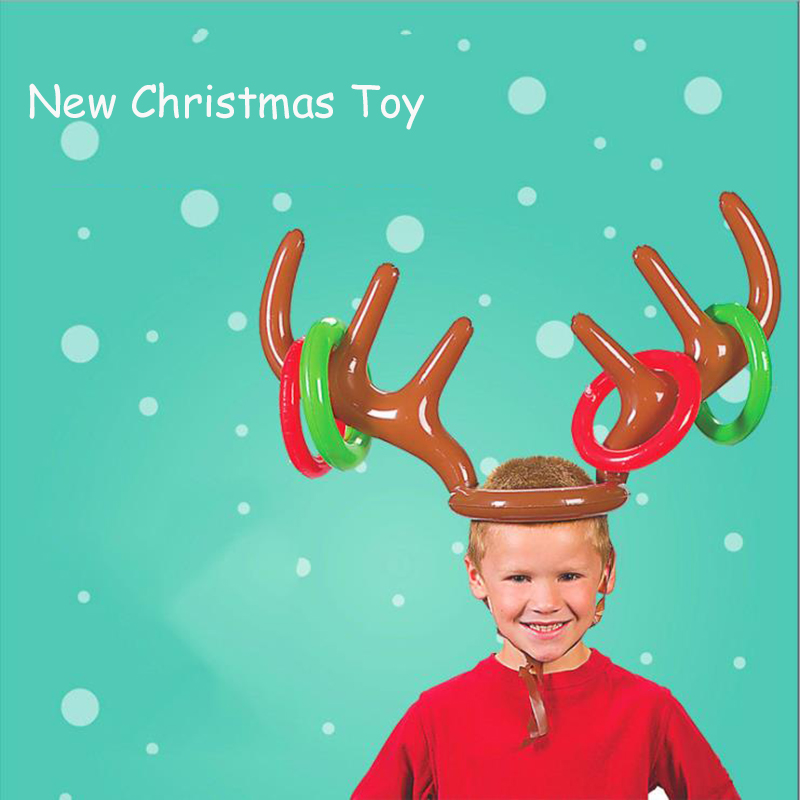 Santa Funny Reindeer Antlers Christmas Toys Children's Headdress Inflatable Hat Collar Throwing Christmas Items Children's Toys