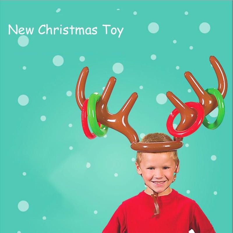 Santa Funny Reindeer Antlers Christmas Toys Children's Headdress Inflatable Hat Collar Throwing Christmas Items Children's Toys