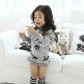 O Novo Ano, o terry moda panda do bebê do algodão camisa de manga longa longo de lã cinza, a garota que vestir no inverno