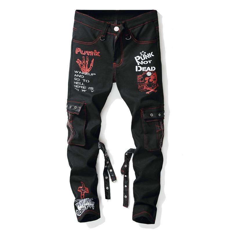 Mcikkny Brand Men's Punk Straight Jeans Letter Printed Denim Trousers Male Streetwear Hip Hop Jeans Pants Multi-pockets